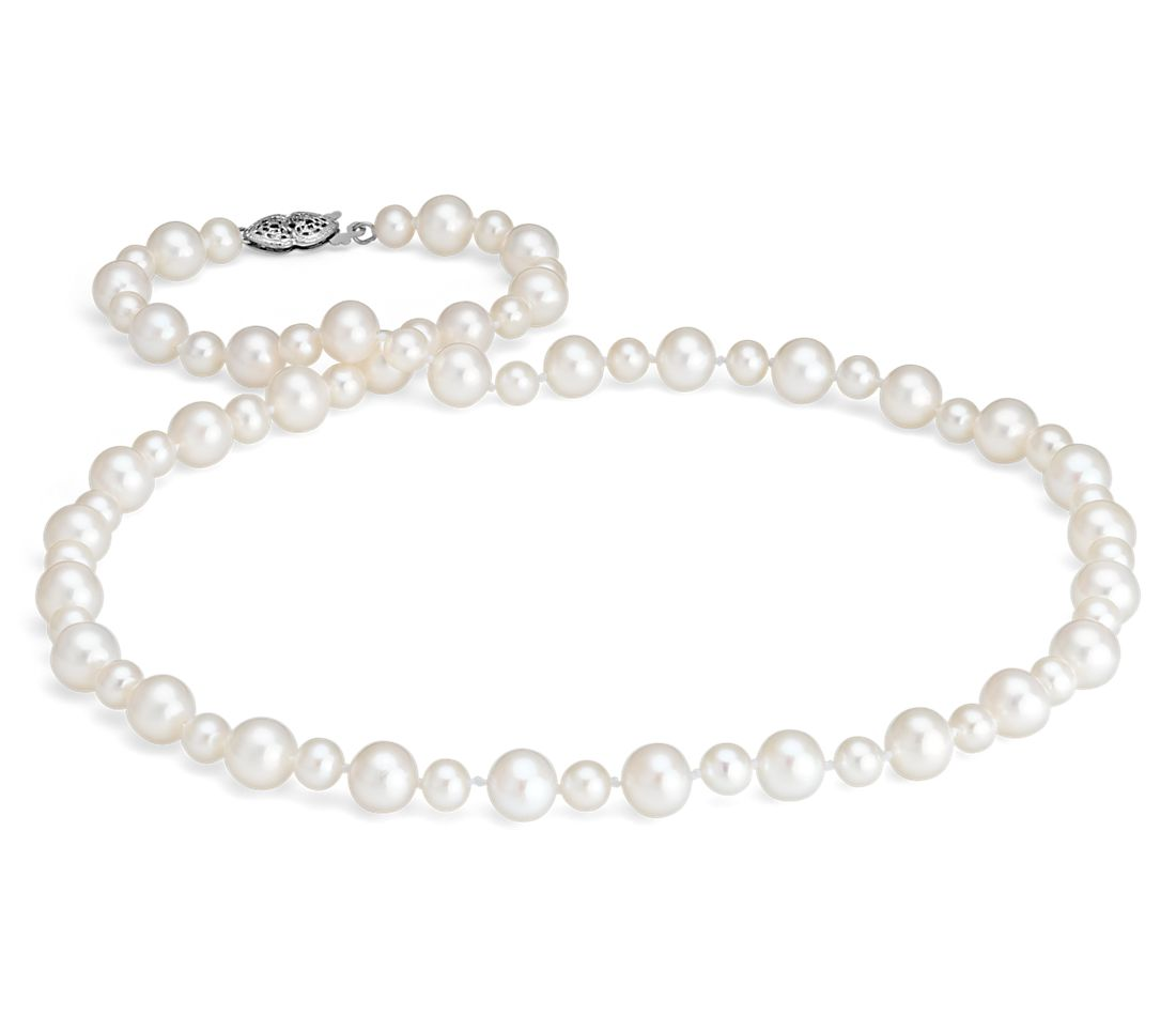 Freshwater Cultured Pearl Garland Necklace in 14k White Gold