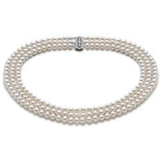 Freshwater Cultured Pearl Triple Strand Necklace in 14k White Gold