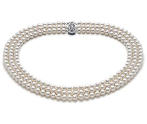 Triple-Strand Freshwater Cultured Pearl Necklace in 14k White Gold