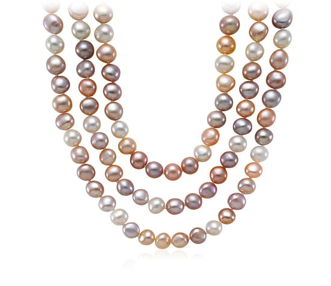 "Pastel Freshwater Cultured Pearl Necklace with Sterling Silver - 54"" Long"