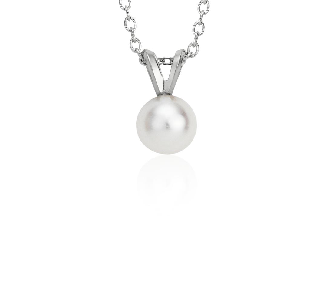 Colgante de perlas cultivadas de agua dulce en oro blanco de 14k (5-5,5 mm)