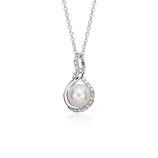 Freshwater Cultured Pearl and White Sapphire Pendant in 14k White Gold (7.5mm)
