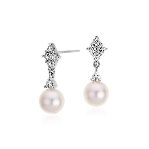 Freshwater Cultured Pearl and Diamond Earrings in 14k White Gold