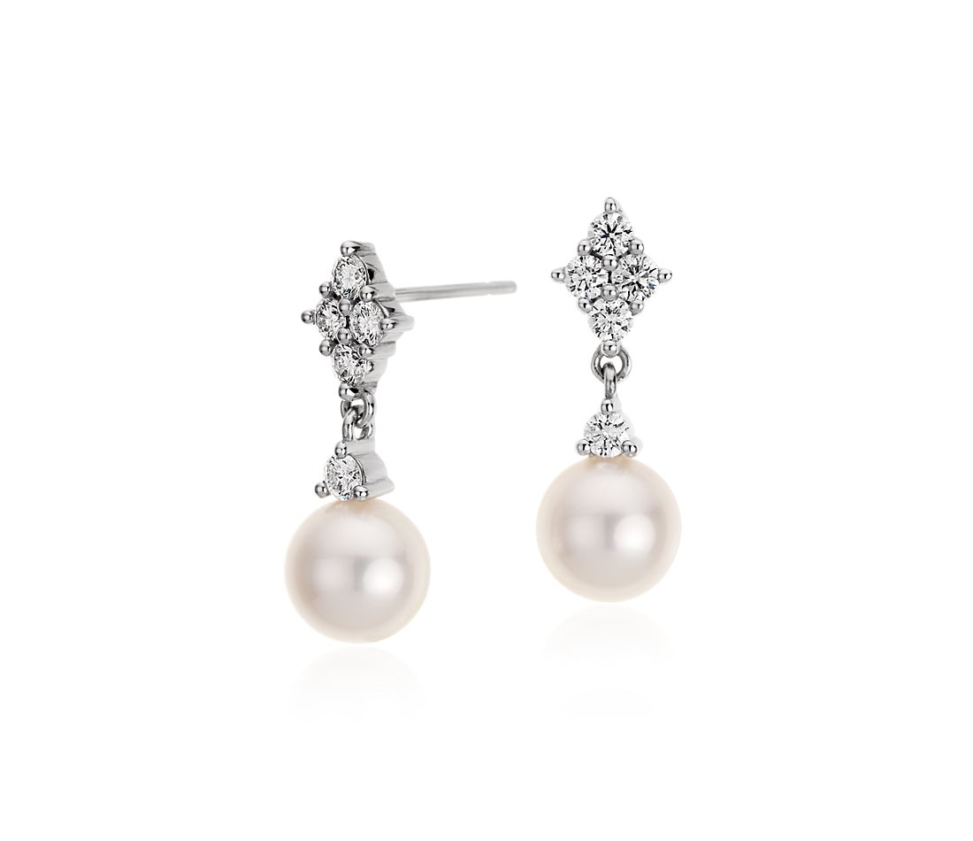 Freshwater Cultured Pearl and Quad Diamond Earrings in 14k White Gold