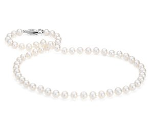 Freshwater Cultured Pearl Strand with 14k White Gold (6-6.5mm) 16