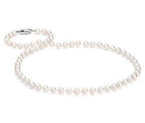 Freshwater Cultured Pearl Strand with 14k White Gold (6-6.5mm) 18