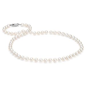 Collier de perles de culture d'eau douce avec or blanc 14 carats (6,0-6,5 mm)