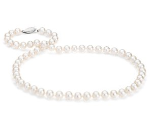 Freshwater Cultured Pearl Strand with 14k White Gold (7-7.5mm) 18