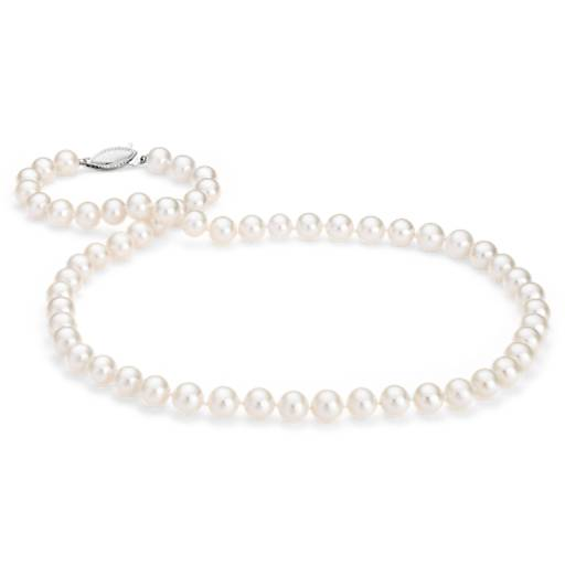 Collier de perles de culture d'eau douce avec or blanc 14 carats (7,0-7,5 mm)