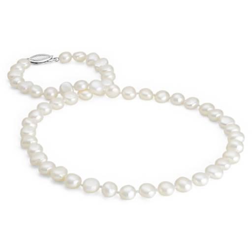 Baroque Freshwater Cultured Pearl Necklace in Sterling Silver