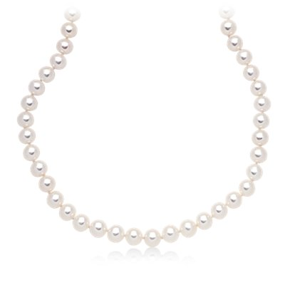 "Freshwater Cultured Pearl Strand with 14k White Gold (7.0-7.5mm) 18"" Long"