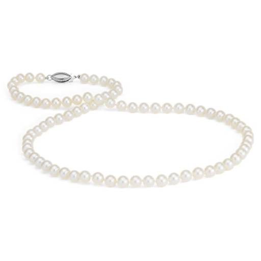 Collier en perles de culture d'eau douce triple rang en or blanc 14 carats (5,0-5,5 mm)