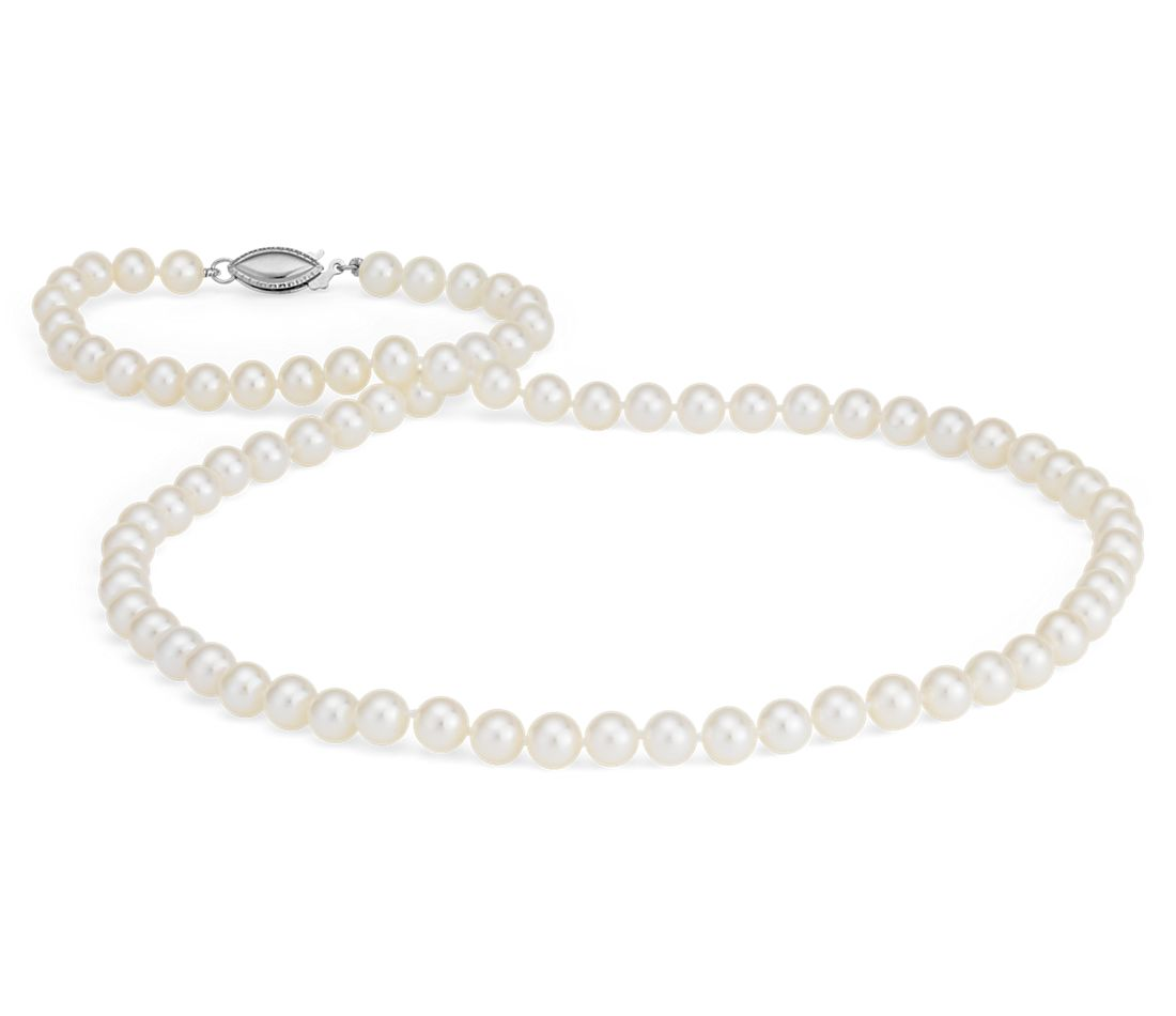 Freshwater Cultured Pearl Strand Necklace in 14k White Gold (5.0-5.5mm)