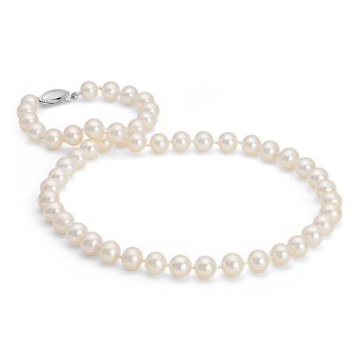Collier en perles de culture d'eau douce triple rang en or blanc 14 carats (8,0-8,5 mm)