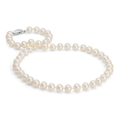 14k 白金淡水养珠链串项链(8.0-8.5毫米)