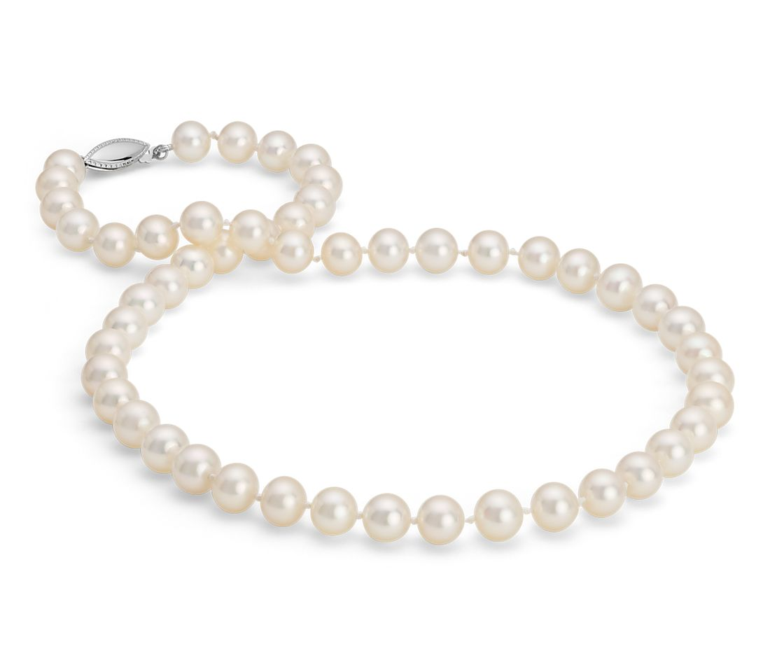 Freshwater Cultured Pearl Strand Necklace in 14k White Gold (8.0-8.5mm)