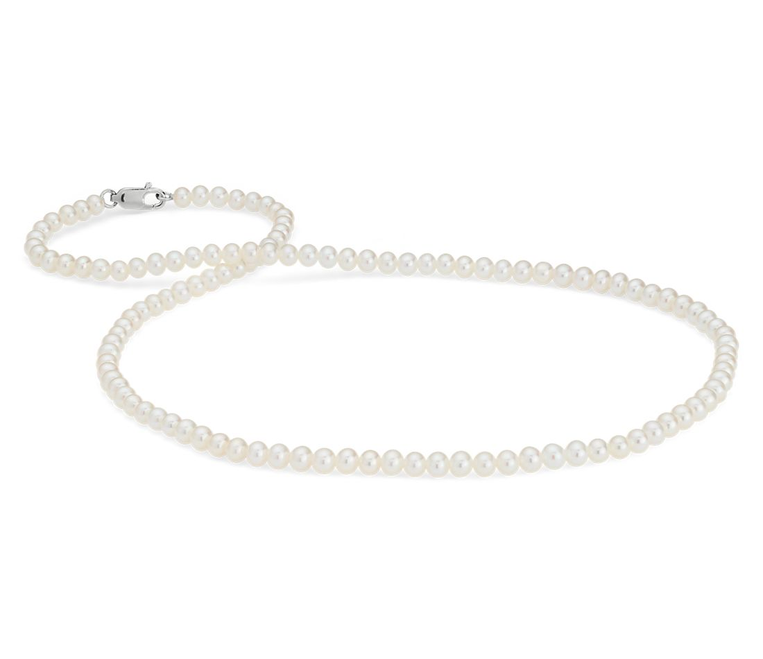 Freshwater Cultured Pearl Strand Necklace in 14k White Gold (3.5-4.0mm)