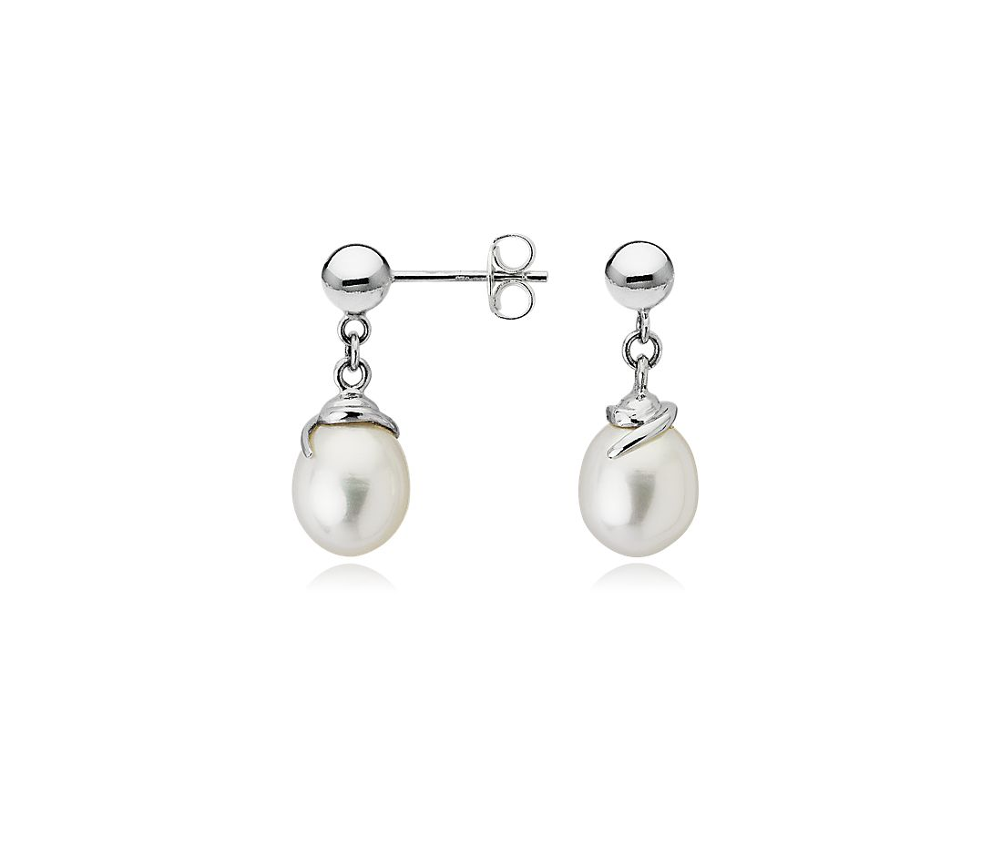 Freshwater Cultured Pearl Swirl Earrings with Sterling Silver