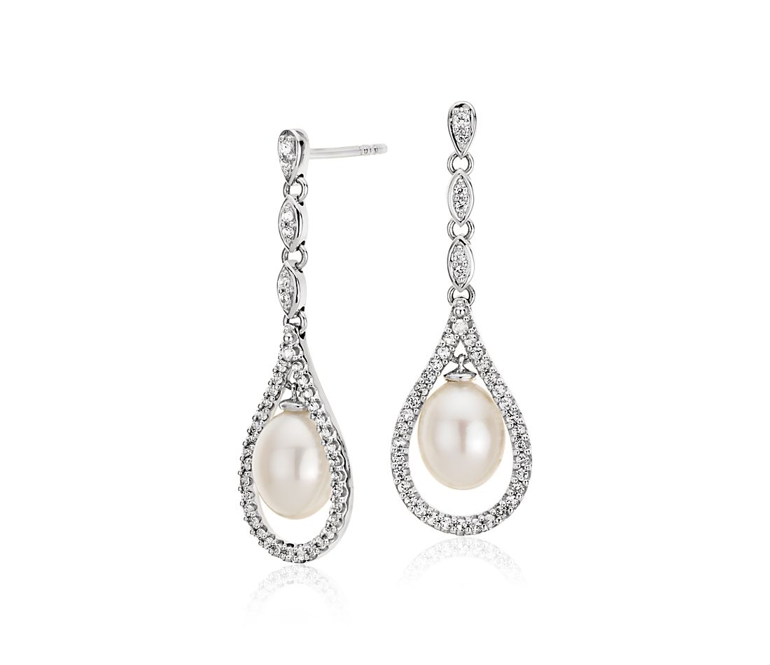 Vintage-Inspired Freshwater Cultured Pearl and White Topaz Earrings in Sterling Silver (6-7mm)