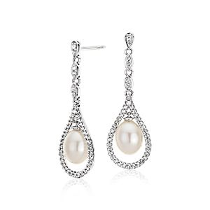 Vintage-Inspired Freshwater Cultured Pearl and White Topaz Earrings in Sterling Silver (6.5mm)