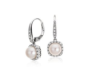 Freshwater Cultured Pearl and White Topaz Earrings in Sterling Silver