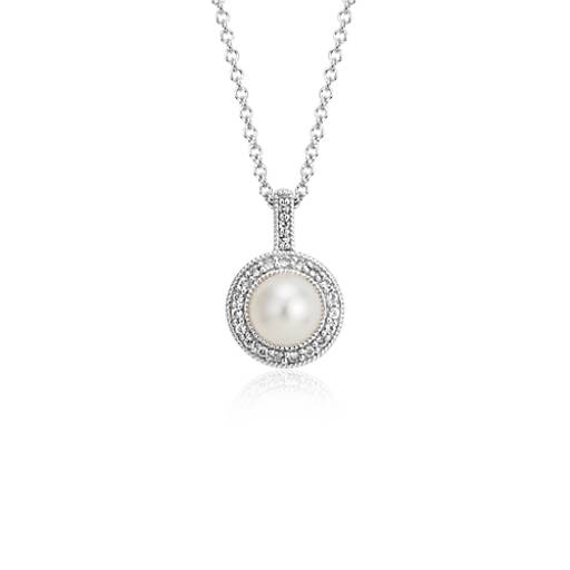 Freshwater Cultured Pearl and White Topaz Halo Pendant in Sterling Silver