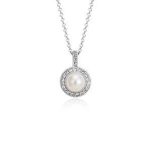 Vintage-Inspired Freshwater Cultured Pearl and White Topaz Halo Pendant in Sterling Silver (6mm)
