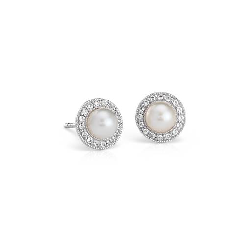 Vintage-Inspired Freshwater Cultured Pearl and White Topaz Halo Earrings in Sterling Silver
