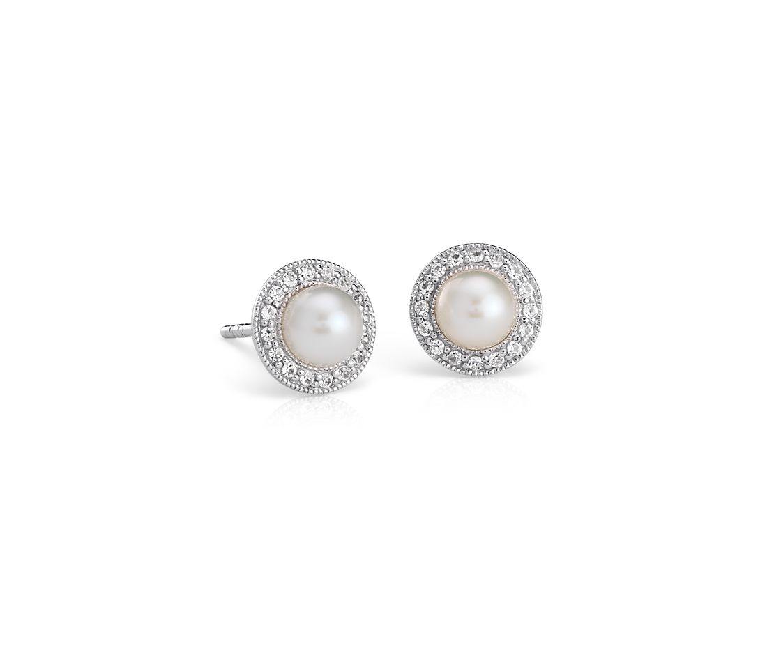 Vintage Inspired Freshwater Cultured Pearl And White Topaz