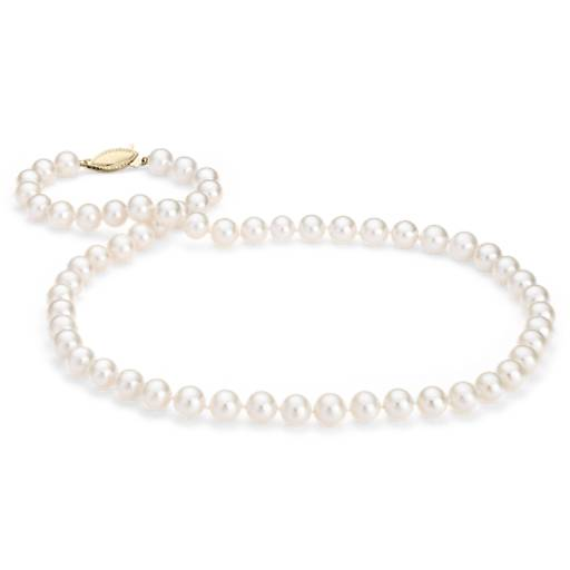 Freshwater Cultured Pearl Strand with 14k Yellow Gold (7.0-7.5mm)