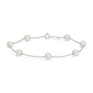 Brazalete flotante de perlas cultivadas de agua dulce en oro blanco de 14 k (5,5mm)