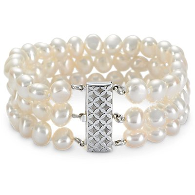 Triple-Strand Baroque Freshwater Cultured Pearl Bracelet in Sterling Silver (7.5mm)