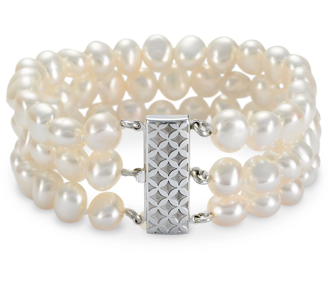 Triple-Strand Baroque Freshwater Cultured Pearl Bracelet in Sterling Silver