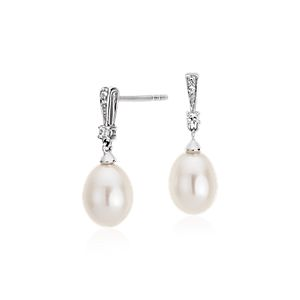 Freshwater Cultured Pearl and White Topaz Drop Earrings in Sterling Silver