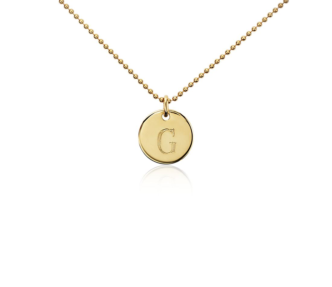 """G"" Mini Initial Pendant in Gold Vermeil"