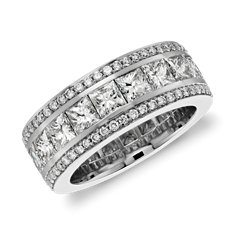 Gala Princess Cut and Pavé Diamond Eternity Ring in 18k White Gold (4.5 ct. tw.)