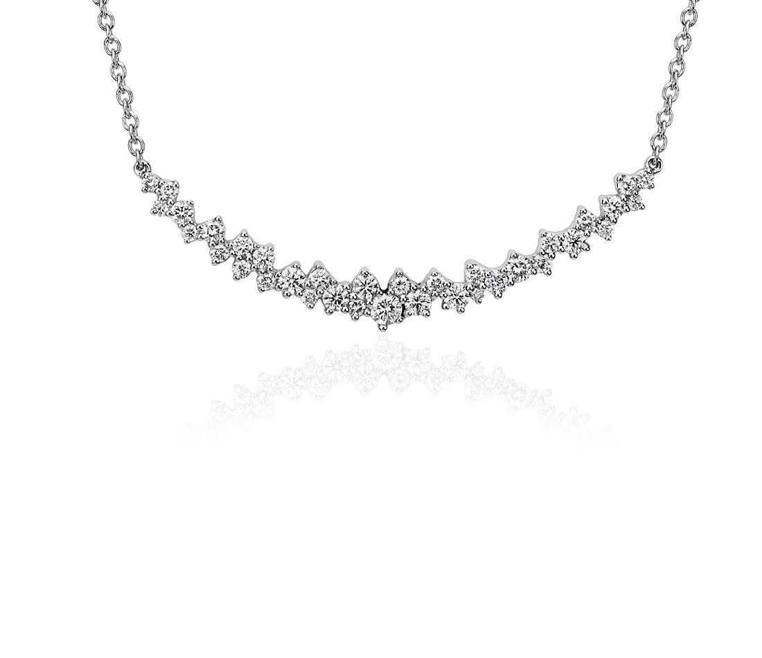 Garland Bar Diamond Necklace in 18k White Gold