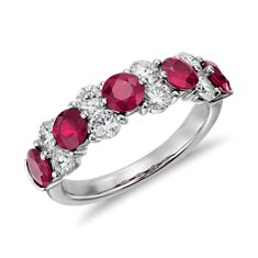 Bague diamant et rubis en Platine (over 3/4 ct tw)