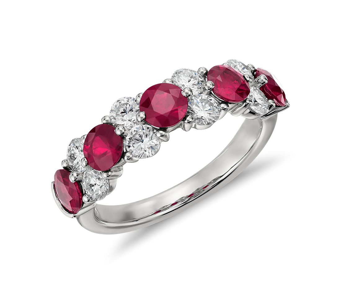 Garland Ruby and Diamond Ring in Platinum (over 3/4 ct tw)