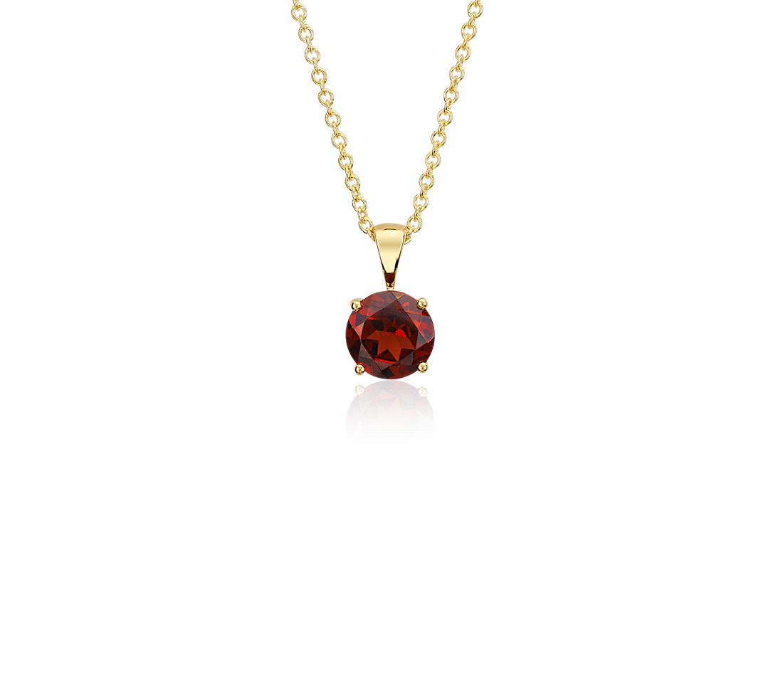 Garnet Pendant in 18k Yellow Gold (7mm)
