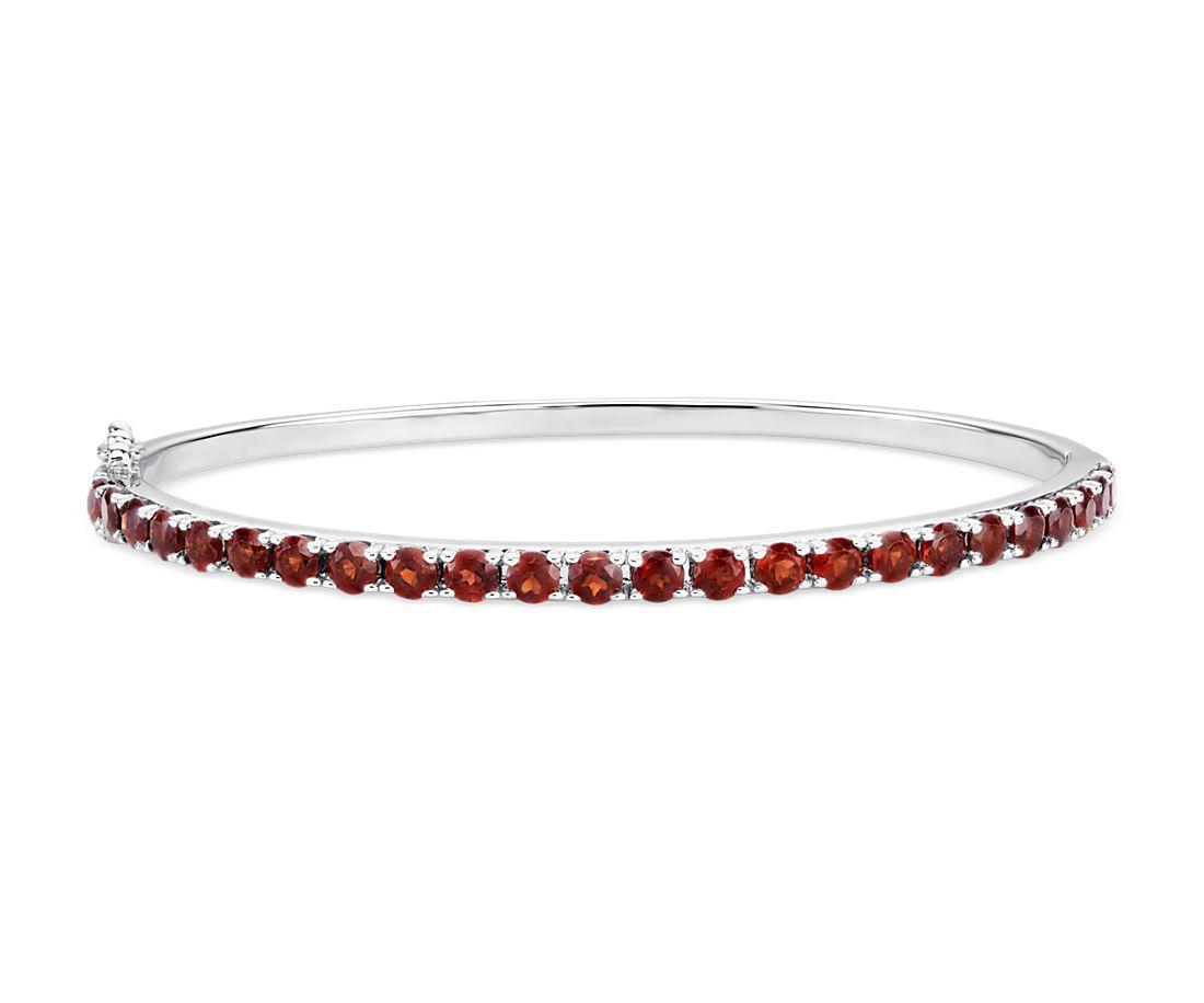 Garnet Bangle Bracelet in Sterling Silver