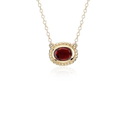 NEW Garnet Bezel Necklace in 14k Yellow Gold