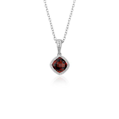 Garnet Cushion Milgrain Pendant in Sterling Silver (6mm)