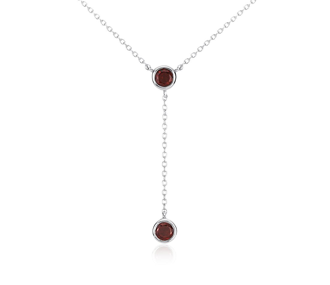 Garnet Bezel-Set Drop Necklace in Sterling Silver (4mm)