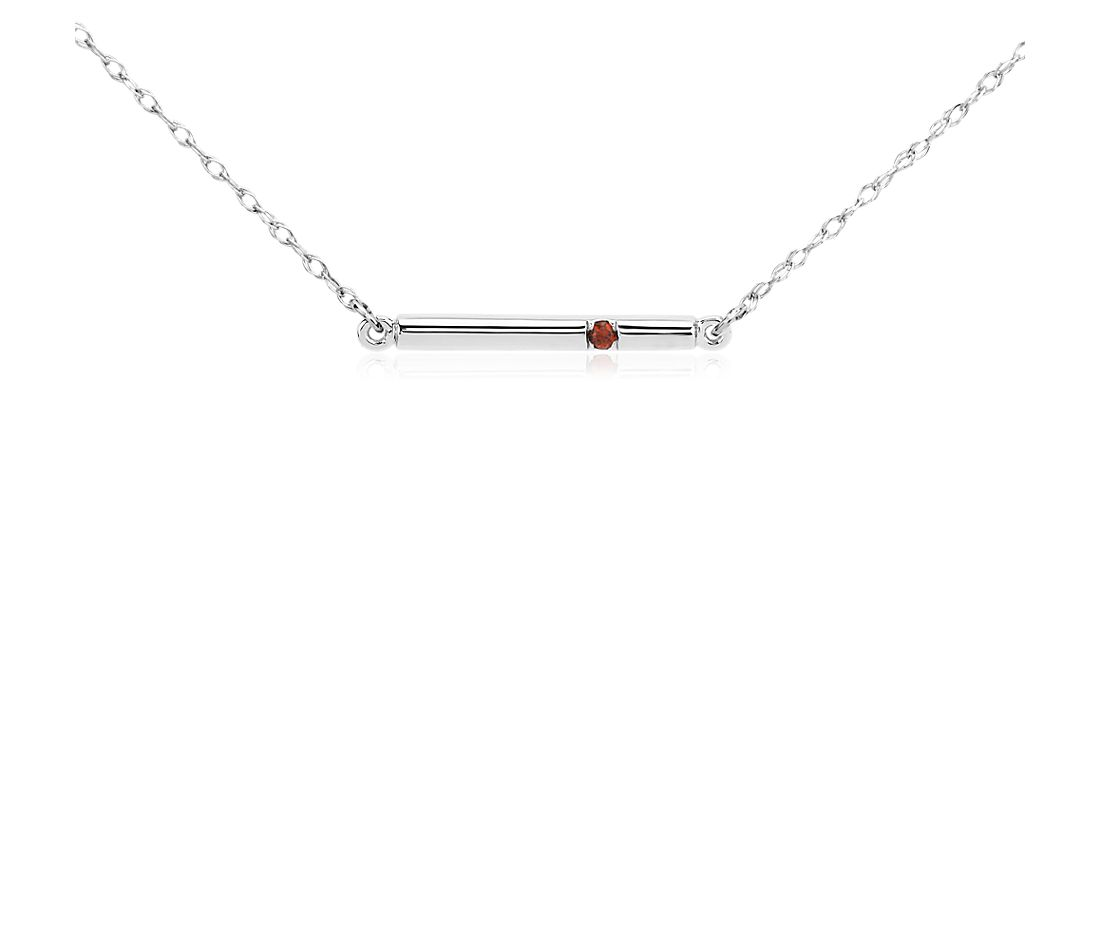 Garnet Bar Necklace in 14k White Gold