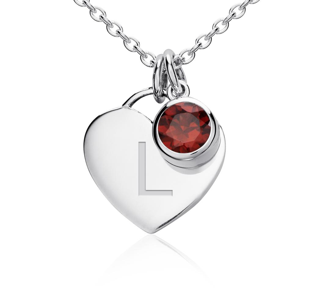 Colgante con forma de corazón para piedra natal de granate en plata de ley (Enero) (4,5mm)