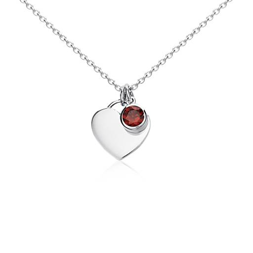 Garnet Birthstone Heart Pendant in Sterling Silver (January)