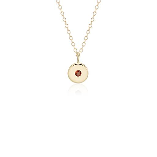 NEW Mini Garnet Birthstone Charm Pendant in 14k Yellow Gold - January (2mm)