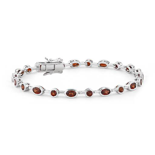 Garnet Bezel Bracelet in Sterling Silver (5x3mm)