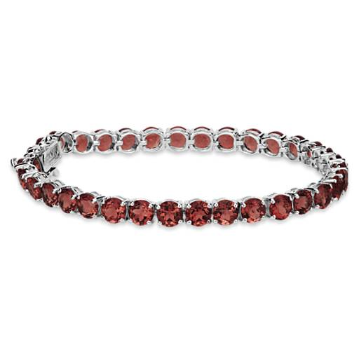Garnet Bracelet in Sterling Silver (5mm)